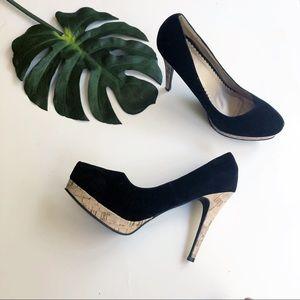 Torrid velvet and cork platform stiletto heels